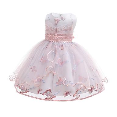 Χαμηλού Κόστους Φορέματα για κορίτσια-Παιδιά / Νήπιο Κοριτσίστικα Ενεργό / χαριτωμένο στυλ Μονόχρωμο Δαντέλα / Χάντρες / Κεντητό Αμάνικο Ως το Γόνατο Βαμβάκι / Πολυεστέρας Φόρεμα Ανθισμένο Ροζ