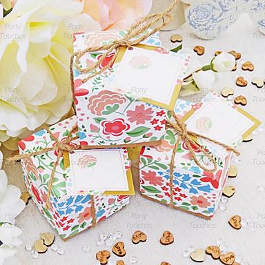 preiswerte Gastgeschenk Boxen & Verpackungen-kubisch Perlenpapier Geschenke Halter mit Bänder Haushaltswaren / Geschenk Schachteln - 50 Stücke