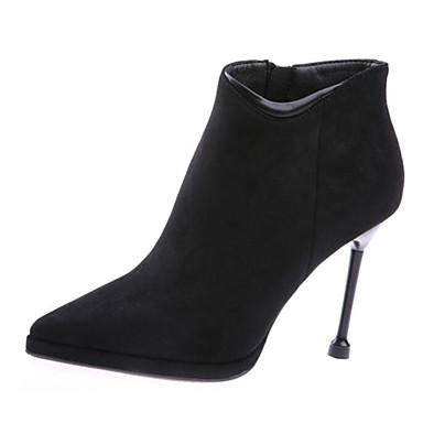 povoljno Ženske čizme-Žene Ovčja koža Jesen zima Čizme Stiletto potpetica Čizme gležnjače / do gležnja Crn / Crvena