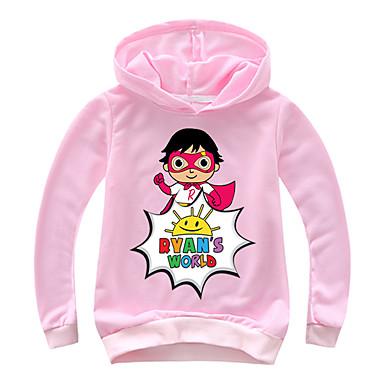 baratos Moletons Para Meninos-Infantil Bébé Para Meninos Activo Básico Estampado Estampado Manga Longa Algodão Moleton & Blusa de Frio Rosa