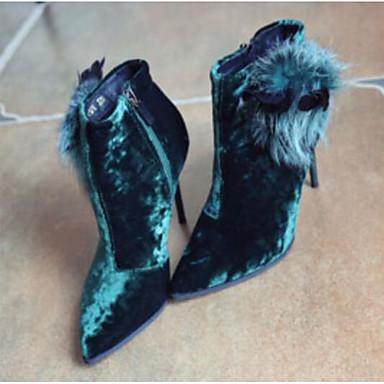 povoljno Ženske cipele-Žene Brušena koža Jesen zima Čizme Stiletto potpetica Čizme gležnjače / do gležnja Pom-pom Crn / Zelen