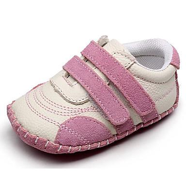 voordelige Babyschoenentjes-Meisjes Comfortabel / Eerste schoentjes Leer Platte schoenen Zuigelingen (0-9m) Grijs / Blauw / Roze Lente