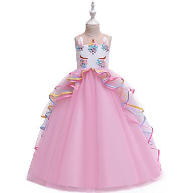 povoljno 7/11-Djeca Djevojčice Vintage slatko Color block Više slojeva Kolaž Bez rukávů Maxi Haljina Blushing Pink