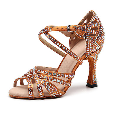 f314bf21b Women's Faux Leather Latin Shoes Rhinestone Heel Flared Heel Customizable  Black / Brown / Performance / Practice