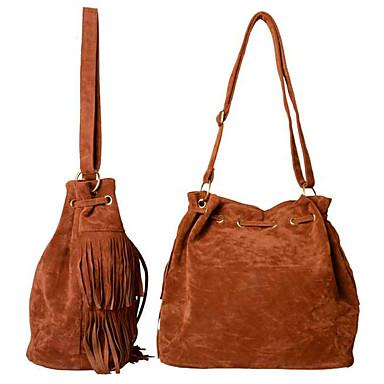 67c3638232 Γυναικεία Τσάντες PU Σταυρωτή τσάντα Φούντα Συμπαγές Χρώμα Μαύρο   Καφέ    Χακί