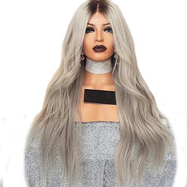 hesapli Sentetik Dantel Peruklar-Gerçek Saç Örme Peruklar Kinky Düz Stil Orta kısım Ön Dantel Peruk Koyu Kahverengi Gümüş Sentetik Saç 26 inç Kadın's Kadın Koyu Kahverengi Peruk Uzun Doğal Peruk