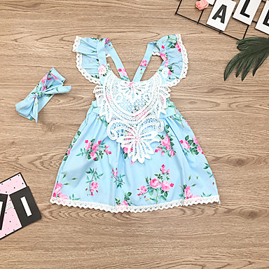 c57a3470f23 Baby Girls  Basic   Boho Floral Backless   Print Sleeveless Above Knee  Cotton   Polyester Dress Blue