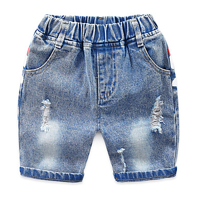 voordelige Jongenskleding-Kinderen Jongens Standaard Street chic Print Print Katoen Jeans Licht Blauw