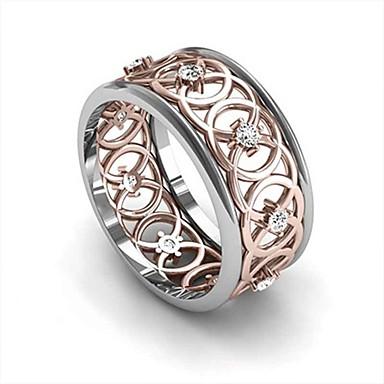 voordelige Herensieraden-Heren Dames Bandring Ring Kubieke Zirkonia 1pc Goud Rose Koper Roos verguld Geometrische vorm Stijlvol Luxe modieus Feest Lahja Sieraden Bloem Cool