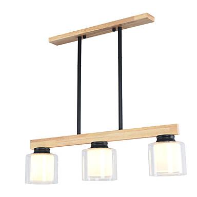 JSGYlights 3-אור אי נברשות Ambient Light גימור צבוע עץ עץ / במבוק זכוכית עיצוב חדש 110-120V / 220-240V