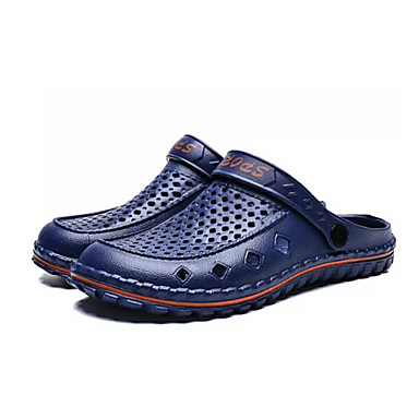 cheap Featured Deals-Men's Comfort Shoes PU(Polyurethane) Summer Casual Clogs & Mules Non-slipping Color Block Black / Gray / Blue
