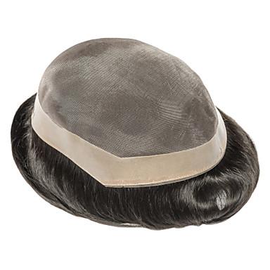 Муж. Натуральные волосы Накладки для мужчин Прямой Полностью ленточные Новое поступление / раскраска / Молодежный / Черный