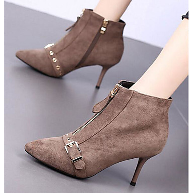 povoljno Ženske čizme-Žene Ovčja koža Jesen zima Čizme Stiletto potpetica Čizme gležnjače / do gležnja Crn / Tamno siva