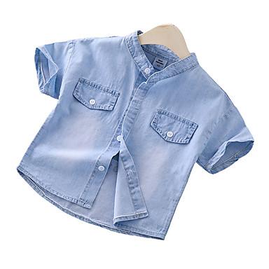 baratos Camisas para Meninos-Infantil Para Meninos Básico Moda de Rua Estampado Estampado Manga Curta Algodão Camisa Azul Claro
