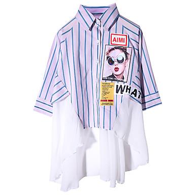 baratos Blusas para Meninas-Infantil Para Meninas Activo Listrado Estampa Colorida Manga Longa Algodão Camisa Azul