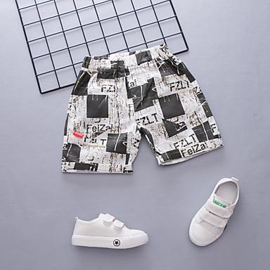baratos Calças para Meninos-Infantil Para Meninos Activo Básico Estampado Estampa Colorida Quadriculada Com Cordão Algodão Shorts Preto