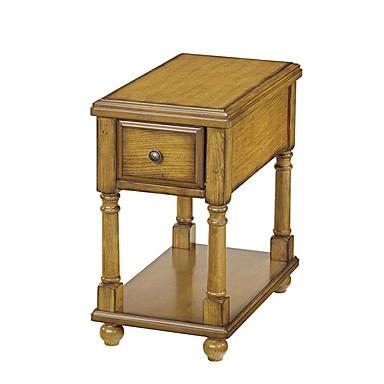 וינטג 'סגנון אור חום עץ 1-מגירה בסוף השולחן השולחן