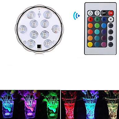 hesapli Dış Ortam Aydınlatma-1pc 3 W Sualtı Işıkları Su Geçirmez / Uzaktan kumandalı / Dekorotif RGB 5.5 V Yüzme havuzu / Vazolar ve Akvaryumlar için uygun 10 LED Boncuklar