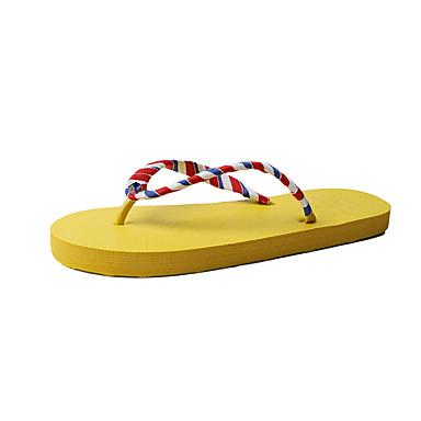 voordelige Damespantoffels & slippers-Dames Slippers & Flip-Flops Platte hak Polyester Zomer Zwart / Beige / Geel