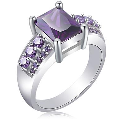 abordables Bague-clair creux sur bande anneau mode basique luxe classique élégant bague bijoux violet pour festival cadeau fiançailles mariage