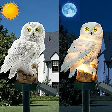 billige Utendørsbelysning-ugle sollys med solenergi ledet panel falsk ugle vanntett solenergi hage lys owl ornament dyr fugl utendørs hage hage lamper