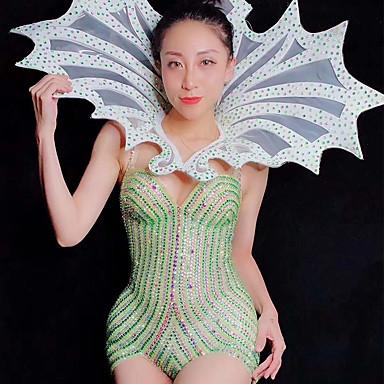אקזוטי Dancewear חליפת גוף עם אבני חן מזויפות / האנפו בגדי ריקוד נשים הצגה ספנדקס קריסטלים / אבנים נוצצות ללא שרוולים / סרבל תינוקותבגד גוף