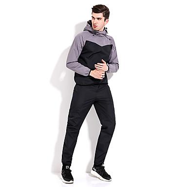 בגדי ריקוד גברים חגורה גמישה שרוך אימונית קולור בלוק ריצה הדרכה פעילה כושר וספורט ז'קט עם קפוצ'ון ומכנסיים שרוול ארוך לבוש אקטיבי שמור על חום הגוף עמיד עמידות UV ייבוש מהיר קשיח רגיל