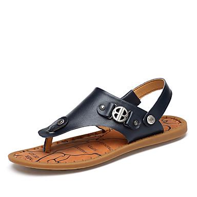 בגדי ריקוד גברים נעלי עור עור נאפה Leather קיץ עסקים / יום יומי סנדלים הליכה / נעלי ספורט מים נושם כחול / חום בהיר / חום כהה