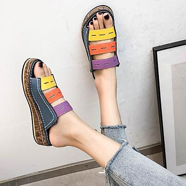 voordelige Damespantoffels & slippers-Dames Slippers & Flip-Flops Comfort schoenen Platte hak Open teen Synthetisch Informeel / minimalisme Lente & Herfst / Lente zomer Wit / Bruin / Blauw