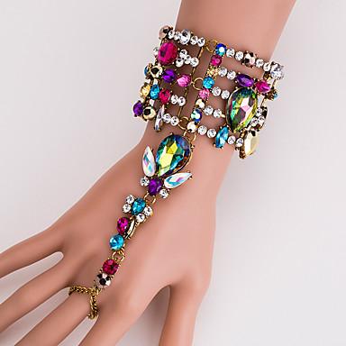 baratos Bijuteria de Mulher-Mulheres MultiCor Pulseiras Anéis Geométrico Princesa Importante Estiloso Europeu Strass Pulseira de jóias Prata / Arco-íris Para Diário