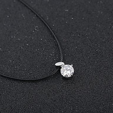 billige Halskjeder-Dame Sølv Kubisk Zirkonium Anheng Halskjede Zirkonium Sølv 36 cm Halskjeder Smykker 1pc Til Bryllup Gave