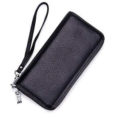 preiswerte Taschen-Unisex Taschen Rindsleder Handgelenk-Tasche Reißverschluss Volltonfarbe Schwarz / Grau / Wein