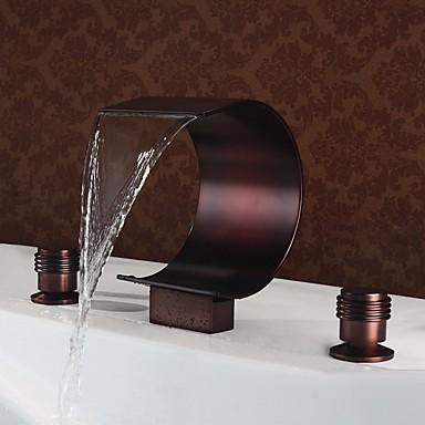 Ванная раковина кран - Водопад Начищенная бронза Разбросанная Две ручки три отверстияBath Taps
