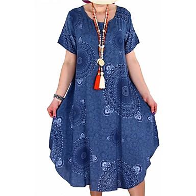 abordables Nouveautés-Femme Grandes Tailles Mi-long Ample Tunique Robe - Imprimé, Tribal Eté Rouge Rose Claire Jaune XXXL XXXXL XXXXXL Manches Courtes
