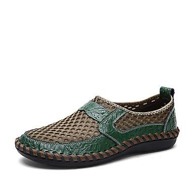 בגדי ריקוד גברים נעליים פורמליות רשת / עור אביב קיץ עסקים / יום יומי נעליים ללא שרוכים הליכה ללא החלקה חום / ירוק / כחול