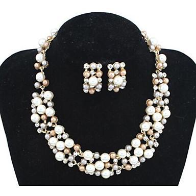 בגדי ריקוד נשים סטי תכשיטי כלה קלאסי אהבה מסוגנן סגנון חמוד אלגנטית דמוי פנינה עגילים תכשיטים לבן / חום עבור Party יומי 1set