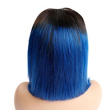 povoljno Perike i ekstenzije-Ljudska kosa Lace Front Perika Bob frizura stil Brazilska kosa Ravan kroj Plava Perika 130% Gustoća kose Žene Najbolja kvaliteta novi Novi Dolazak Rasprodaja Žene Kratko Wig Accessories Perike s