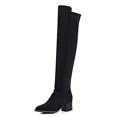 בגדי ריקוד נשים PU סתיו חורף בריטי / מִעוּטָנוּת מגפיים עקב עבה בוהן עגולה מגפיים באורך מעל הברך שחור / מסיבה וערב