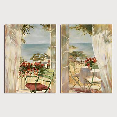 billige Trykk-Trykk Strukket Lerret Trykk - Landskap Blomstret / Botanisk Moderne Kunsttrykk
