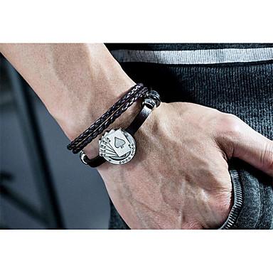 voordelige Herensieraden-Heren Lederen armbanden Gevlochten Gelukkig Stijlvol Leder Armband sieraden Zwart Voor Lahja Dagelijks