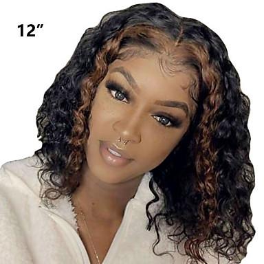 Perruque Cheveux Naturel Rémy Lace Frontale Cheveux Brésiliens Bouclé Bouclé profond Noir Partie médiane Femme Densité 130% Doux Homme Meilleure qualité Ligne de Cheveux Naturelle Perruque