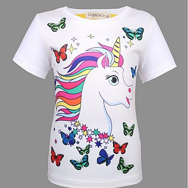 baratos Blusas para Meninas-Infantil Para Meninas Básico Estampado Manga Curta Camiseta Branco