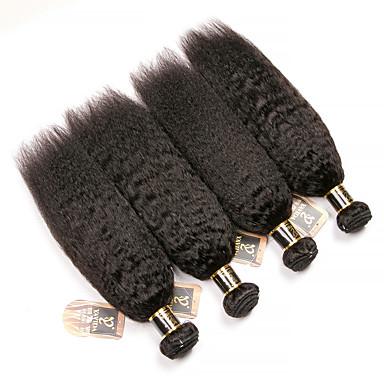 baratos Extensões de Cabelo Natural-4 pacotes Cabelo Brasileiro Kinky Liso 100% Remy Hair Weave Bundles Cabelo Humano Ondulado Cabelo Bundle Extensões de Cabelo Natural 8-28 polegada Côr Natural Tramas de cabelo humano Sem Cheiros