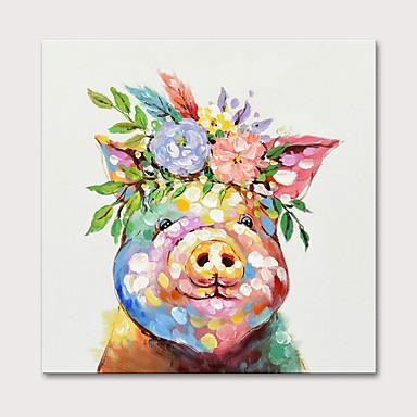 ציור שמן צבוע-Hang מצויר ביד - חיות אומנות פופ מודרני ללא מסגרת פנימית
