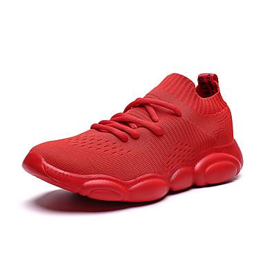 בגדי ריקוד גברים אור סוליות בד גמיש אביב קיץ ספורטיבי נעלי אתלטיקה נושם שחור / בז' / אדום