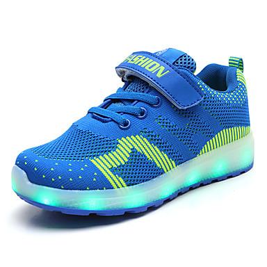 בנים / בנות נעליים זוהרות דמוי עור / Flyknit נעלי ספורט ילדים קטנים (4-7) / ילדים גדולים (7 שנים +) הליכה LED כחול כהה / כחול / ורוד אביב / קיץ / גומי