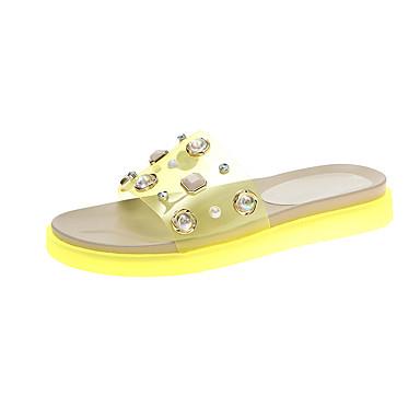 baratos Super Ofertas-Mulheres Chinelos e flip-flops Sem Salto Couro Ecológico / Sintéticos Verão Amarelo / Verde / Rosa claro