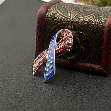 baratos Bijuteria de Mulher-Mulheres Broches Crossover bandeira americana Bandeira Jóias patrióticas Europeu Na moda Fashion Strass Broche Jóias Vermelho / Azul Para Diário Festival