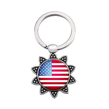 שרשרת מפתחות דגל דגל אמריקאי ארופאי Fashion Ring תכשיטים כסף עבור מתנה פֶסטִיבָל