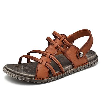 בגדי ריקוד גברים נעלי נוחות עור נאפה Leather אביב קיץ יום יומי סנדלים נושם שחור / חום